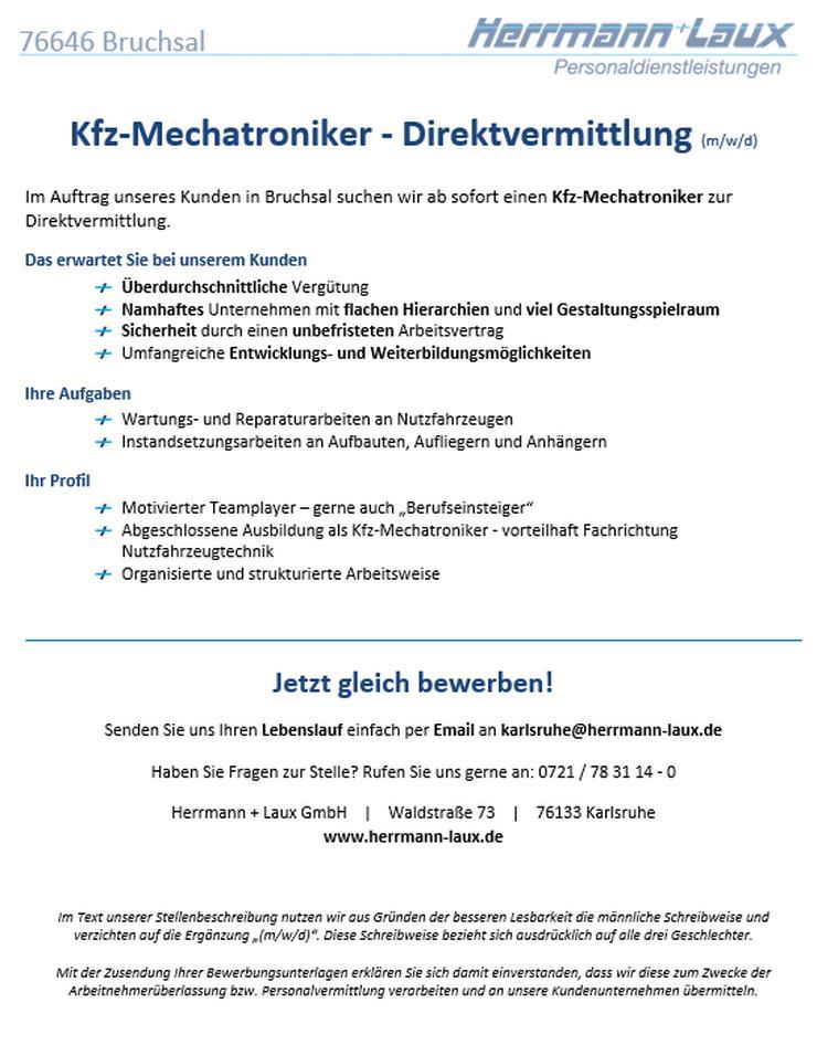Kfz-Mechatroniker - Direktvermittlung (m/w/d) - KFZ-Berufe - Bild 1