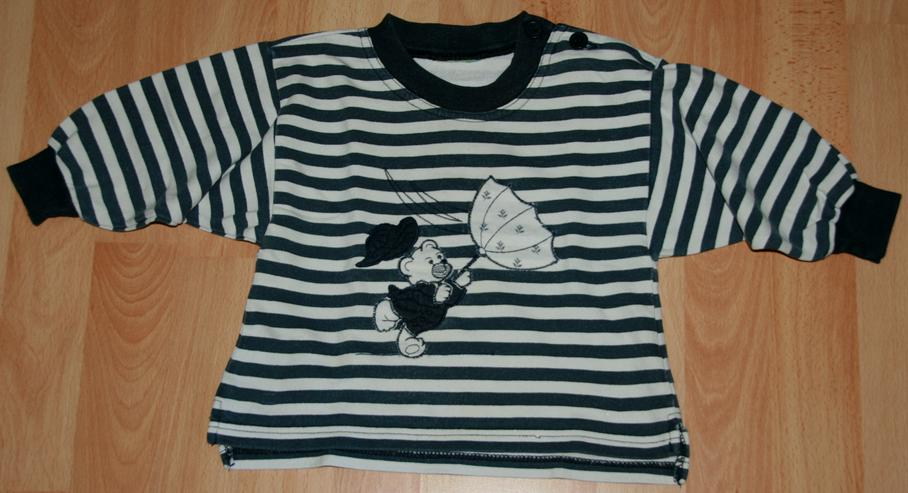 Sweat-Shirt - Größe 68 - Ringel-Pullover - Langarm - Bär-Motiv