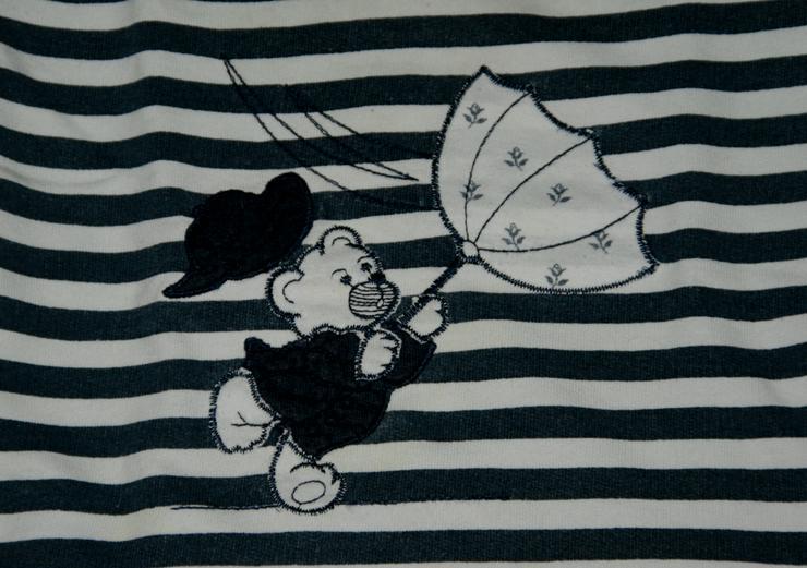 Bild 2: Sweat-Shirt - Größe 68 - Ringel-Pullover - Langarm - Bär-Motiv