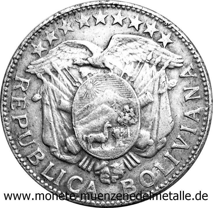 Bild 2: Bolivie 50 centavos 1/2 Boliviano Silber münze