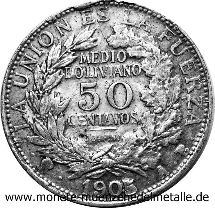 Bolivie 50 centavos 1/2 Boliviano Silber münze