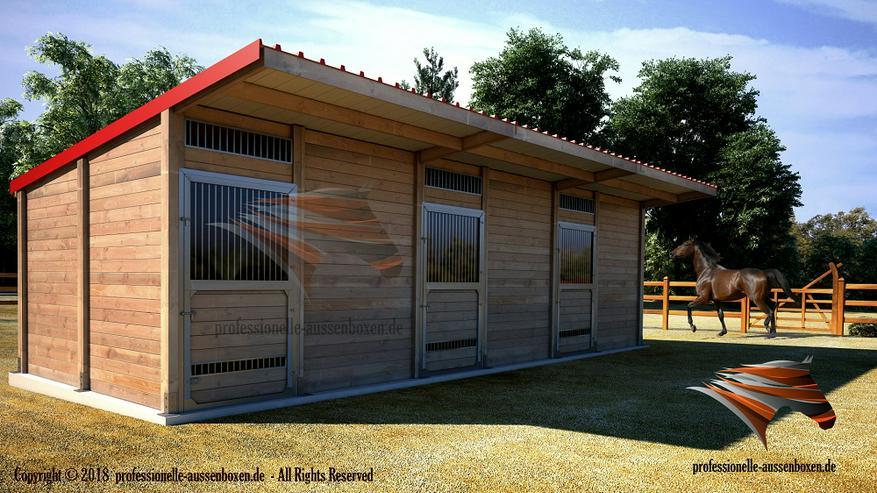 Außenboxen für Pferde, Pferdeställe, Pferdeboxen, Weidehütte mit Fressgitter
