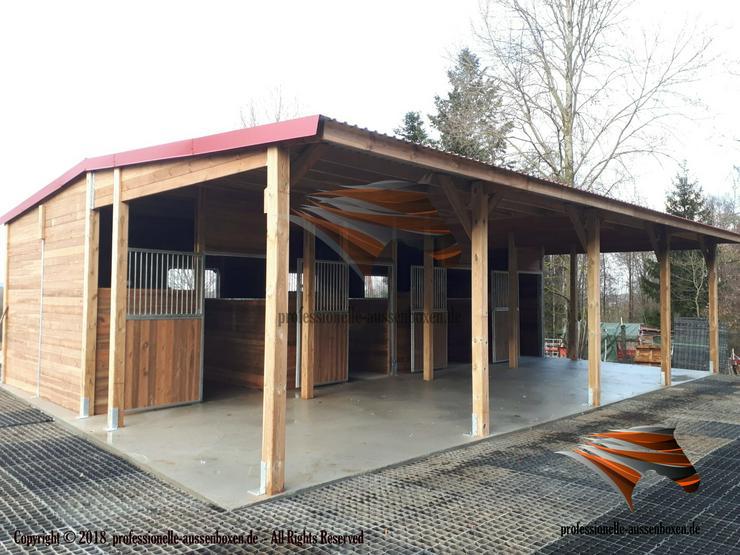 Außenboxen für Pferde, Pferdeställe, Pferdeboxen, Weidehütte mit Fressgitter Hersteller!