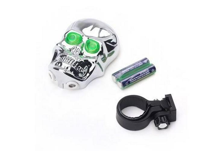 Bild 3: Fahrrad Licht Schädel Kopf Geformte Laser Rückleuchten 2 Laserstrahl 5 LED Rücklicht Warming Lampe