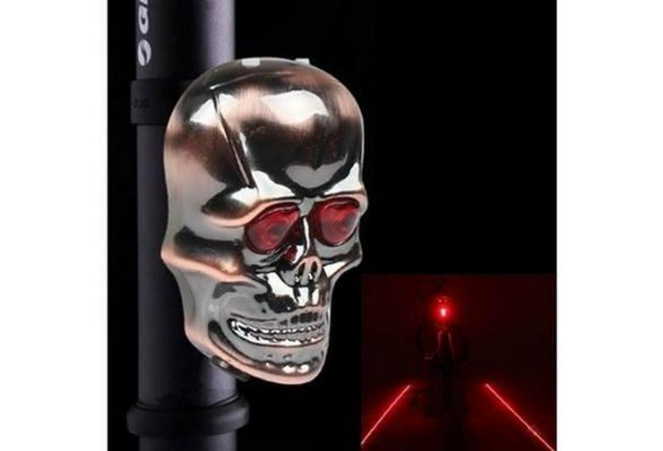 Fahrrad Licht Schädel Kopf Geformte Laser Rückleuchten 2 Laserstrahl 5 LED Rücklicht Warming Lampe - Zubehör & Fahrradteile - Bild 1
