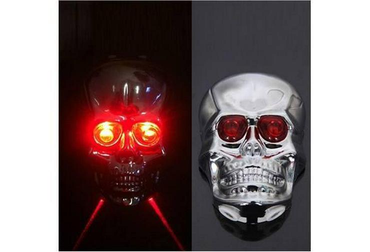 Bild 2: Fahrrad Licht Schädel Kopf Geformte Laser Rückleuchten 2 Laserstrahl 5 LED Rücklicht Warming Lampe