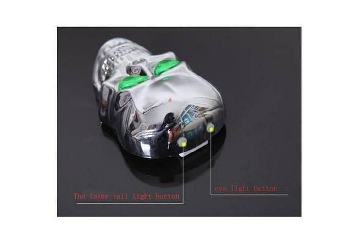 Bild 4: Fahrrad Licht Schädel Kopf Geformte Laser Rückleuchten 2 Laserstrahl 5 LED Rücklicht Warming Lampe