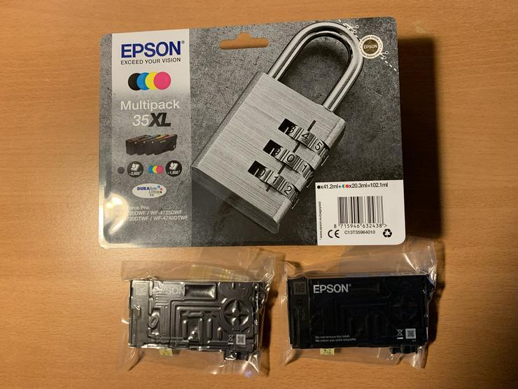 Epson Farbpatronen 35 xl Viererpack , 2 Einzelpatronen blau und gelb 35 xl - Toner, Druckerpatronen & Papier - Bild 1