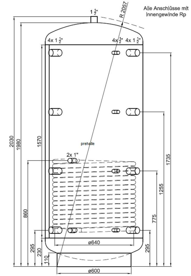 1A Pufferspeicher 1000 L 1WT. Für Heizung BHKW Ofen Solar Kessel