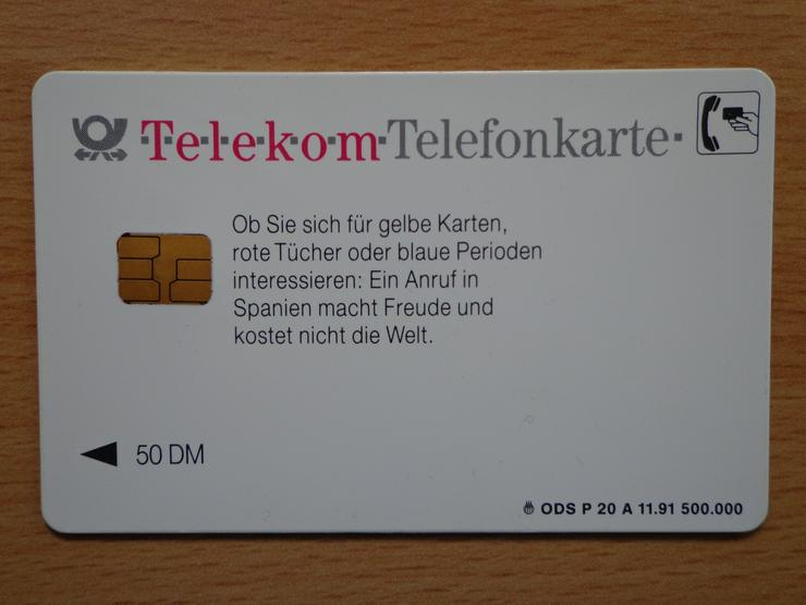 """Bild 2: Telekom-Telefonkarte """"Wie real ist Madrid?"""" noch mit dem vollen 50 DM Guthaben"""