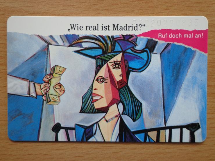 """Telekom-Telefonkarte """"Wie real ist Madrid?"""" noch garantiert (!!!) mit dem vollen 50 DM Guthaben"""