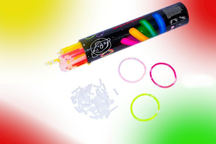 100 Premium Knicklichter Party Set Armbänder Pack Glow Sticks Leuchtstäbe hell  - Partydeko - Bild 1
