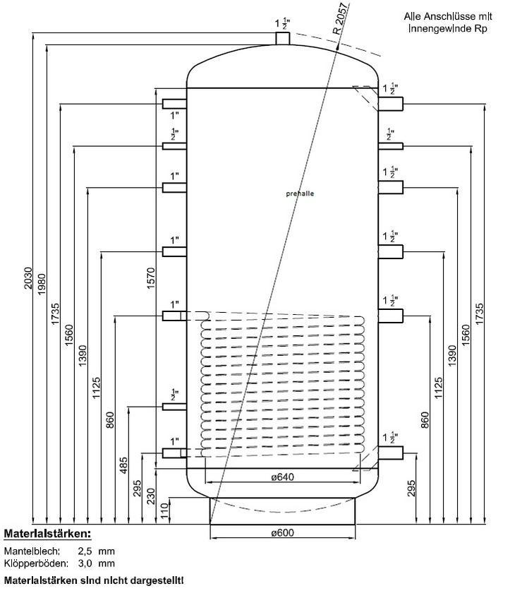 1A Pufferspeicher 1000 L 1WT. Für Heizung BHKW Ofen Solar Kamin