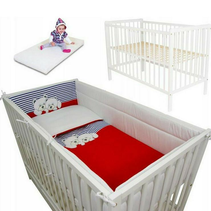 5 tlg. Bett 120x60cm + Matratze + Bettwäsche + Schützer 360 Babyzimmer Bettbezug