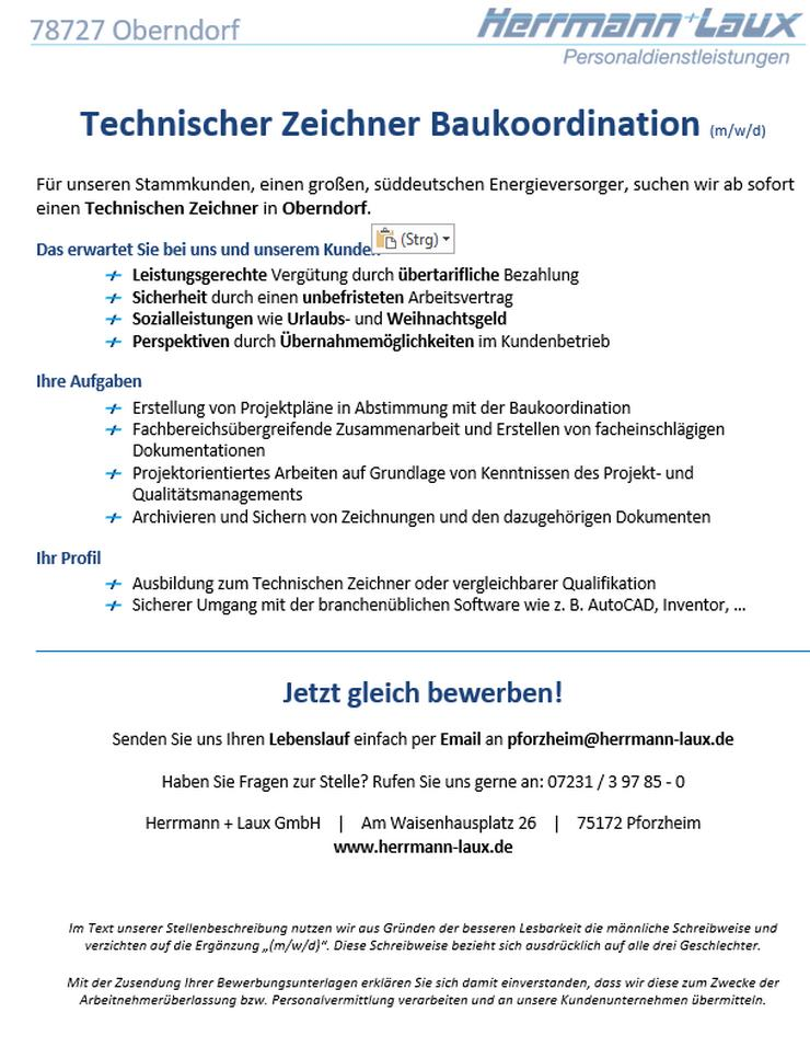Technischer Zeichner Baukoordination (m/w/d) - Weitere - Bild 1
