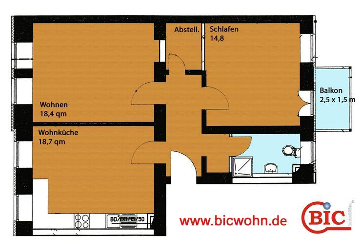Bild 5: Balkon + Wohnküche + Laminat 2-Raum-Wohnung in Dresden-Neustadt