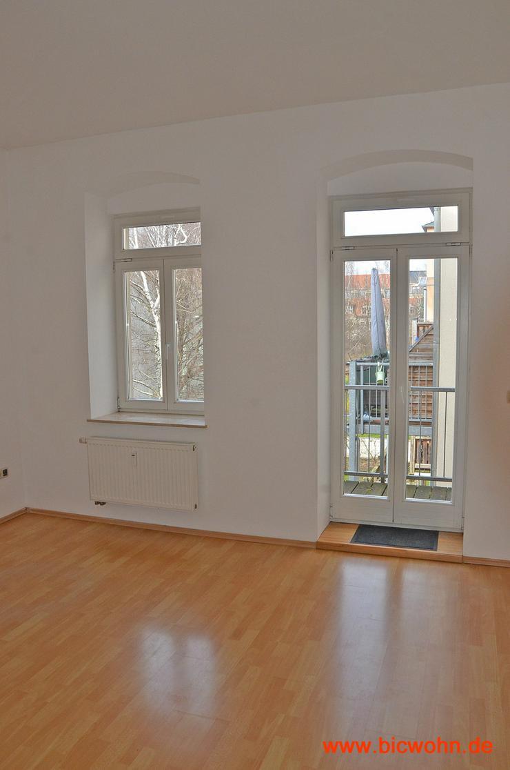 Bild 3: Balkon + Wohnküche + Laminat 2-Raum-Wohnung in Dresden-Neustadt