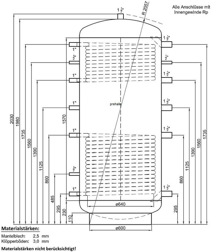 1A Pufferspeicher 1000 L 2WT. Für Heizung BHKW Pelletofen Solar
