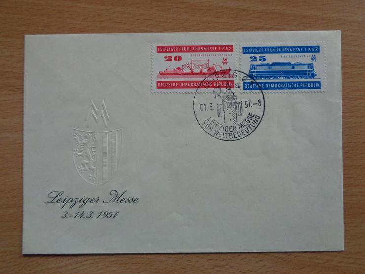 FDC: Leipziger Frühjahrsmesse 1957, DDR, Michel-Nr. 599 + 560