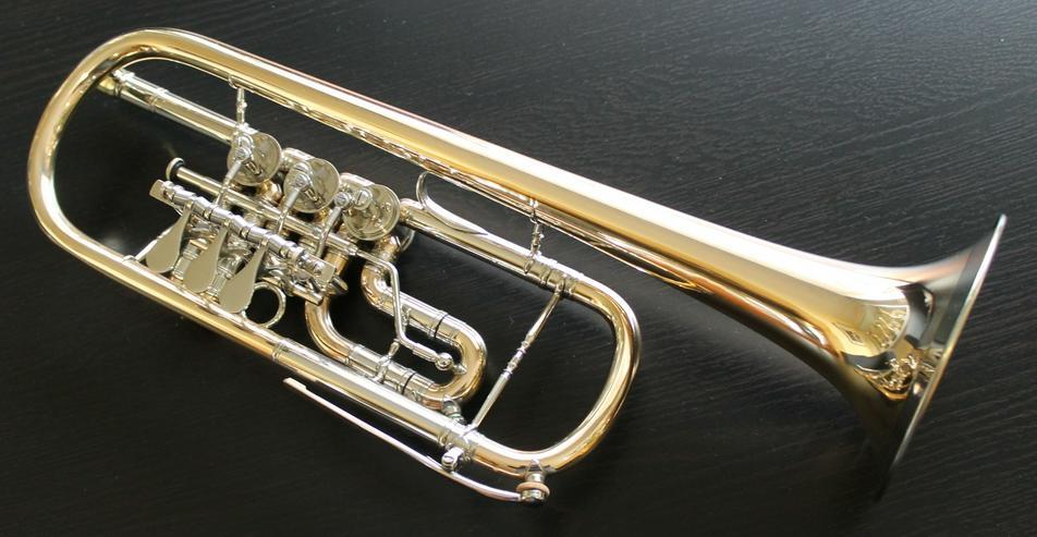 Deutsche C - Konzert - Trompete, Goldmessing + Tonausgleich - Blasinstrumente - Bild 1