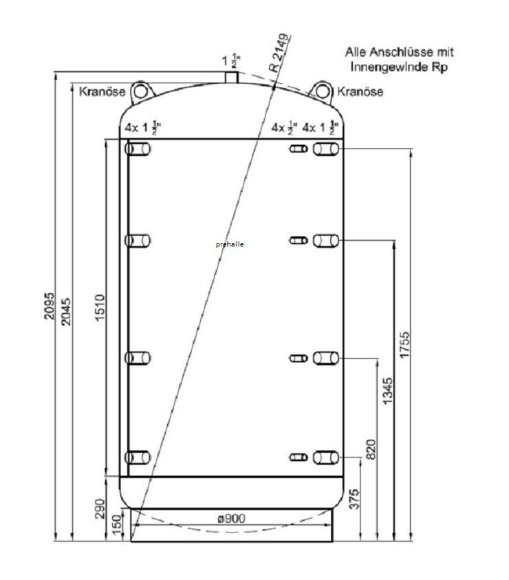 1A Pufferspeicher 1500 L Für Heizung BHKW Pelletofen Kamin Ofen - Durchlauferhitzer & Wasserspeicher - Bild 1