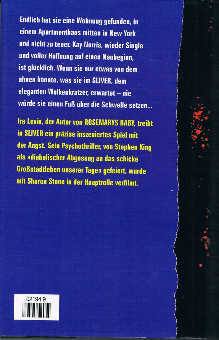 Bild 2: Sliver - Das Buch zum Film mit Sharon Stone. Thriller von Ira Levin