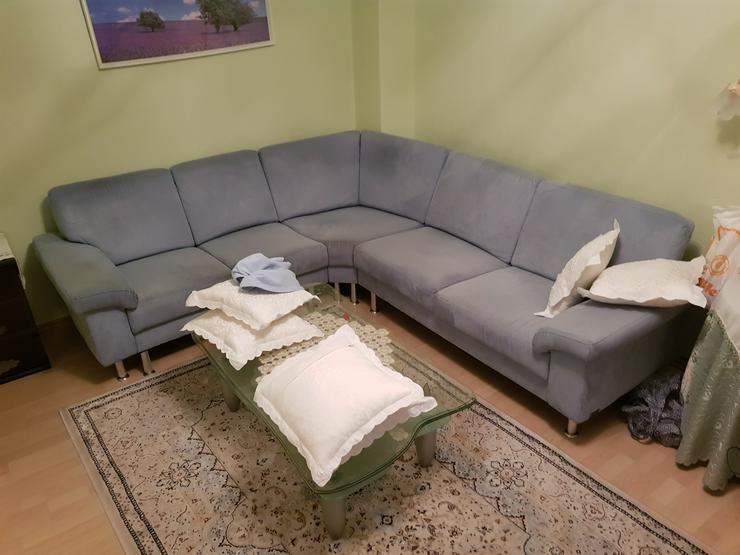 Sitzecke - Sofa helblau, Microfaser
