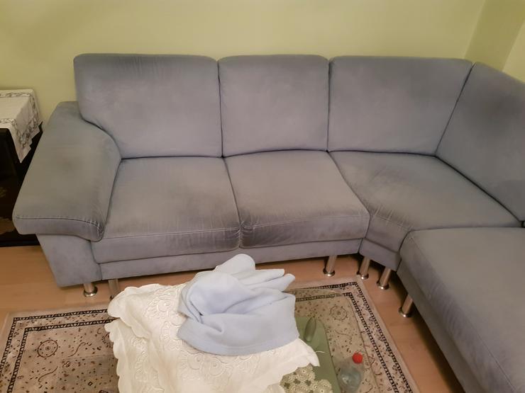 Bild 2: Sitzecke - Sofa helblau, Microfaser