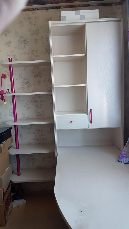 Kinderzimmer, Jugendzimmer weiß pink, Schränke, Schreibtisch, Bett, Rollkommode