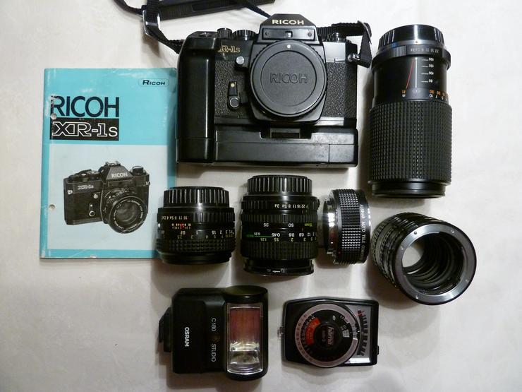 Ricoh xr-1s  Spiegelreflexkamera mit Winder xr-1 und Zubehör
