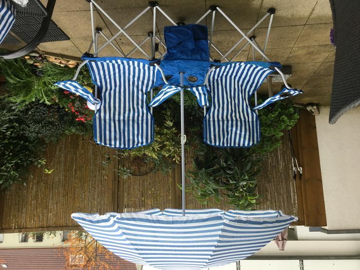1 Gartenbank, faltbar, mit Sonnenschirm - Campingmöbel - Bild 1