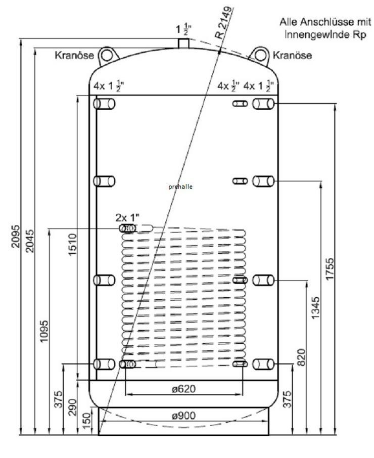 1A Pufferspeicher 1500 L Für Heizung BHKW Pelletofen Kamin Solar