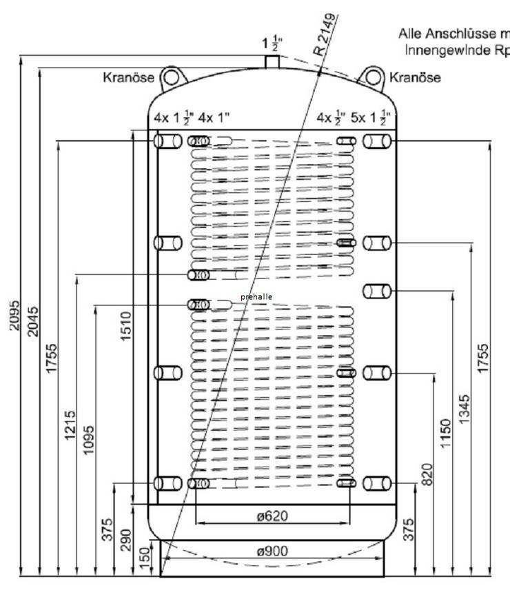 1A Pufferspeicher 1500 L Für Heizung BHKW Pelletofen Kessel Solar