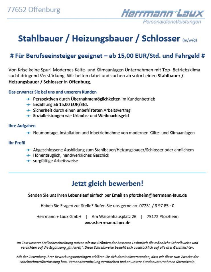 Stahlbauer / Heizungsbauer / Schlosser (m/w/d) - Weitere - Bild 1