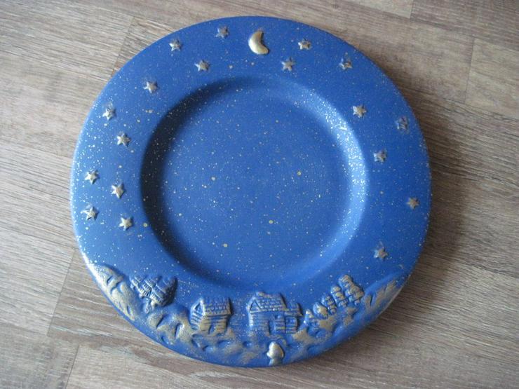 Flacher Weihnachtsteller, Keksteller, Gebäckschale, Adventsteller, Keramik, Blau  - Teller - Bild 1