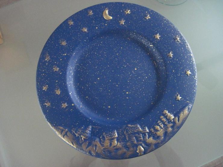 Bild 5: Flacher Weihnachtsteller, Keksteller, Gebäckschale, Adventsteller, Keramik, Blau