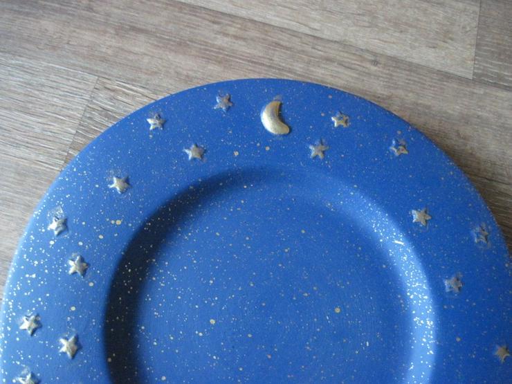 Bild 3: Flacher Weihnachtsteller, Keksteller, Gebäckschale, Adventsteller, Keramik, Blau