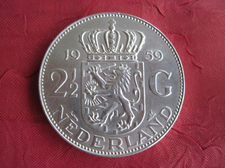 Bild 2: 2 1/2 Gulden 1959 Niederlande Königin Juliana Silber