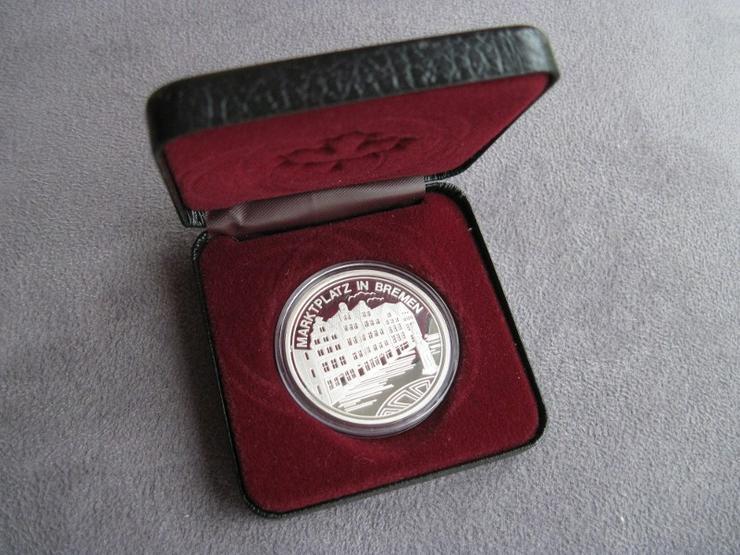 Medaille Bremen Marktplatz und Schütting in Silber PP, Silbermedaille in Etui
