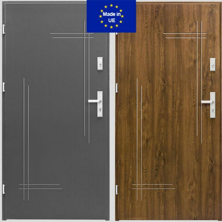 Tür Haustür K1 Standard Außentür Eingangstür Stahltür 80/90Breite Nuss Anthrazit - Türen - Bild 1