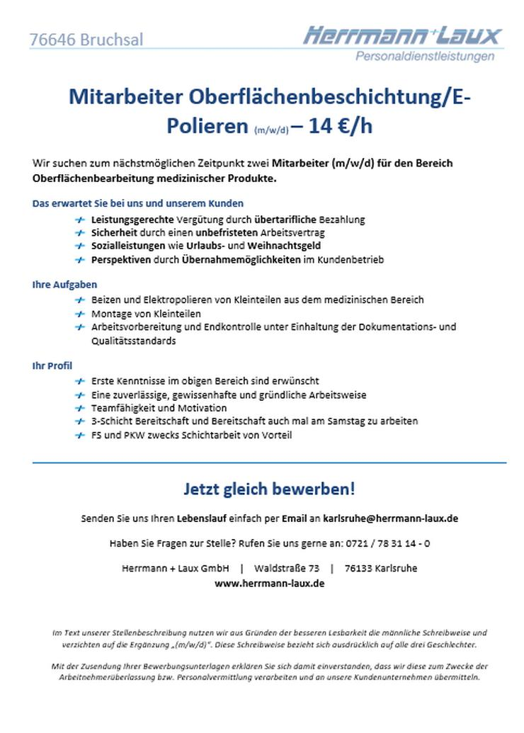 Mitarbeiter Oberflächenbeschichtung/E-Polieren (m/w/d) – 14 €/h - Weitere - Bild 1