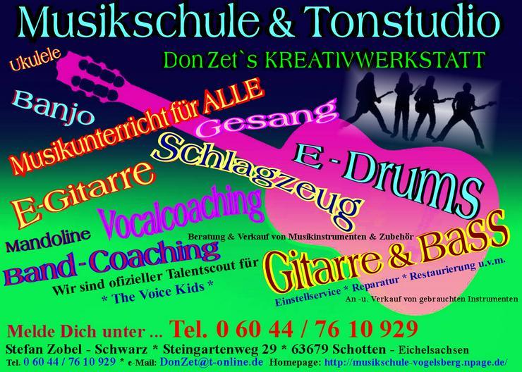 Gitarre, Bass, Gesang, Cajon, Ukulele oder Schlagzeug - Unterricht in Hessen