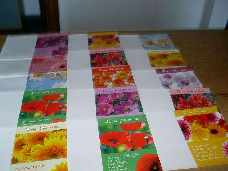 15 Stück Geburtstagskarten mit Sprüchen Blumenmuster
