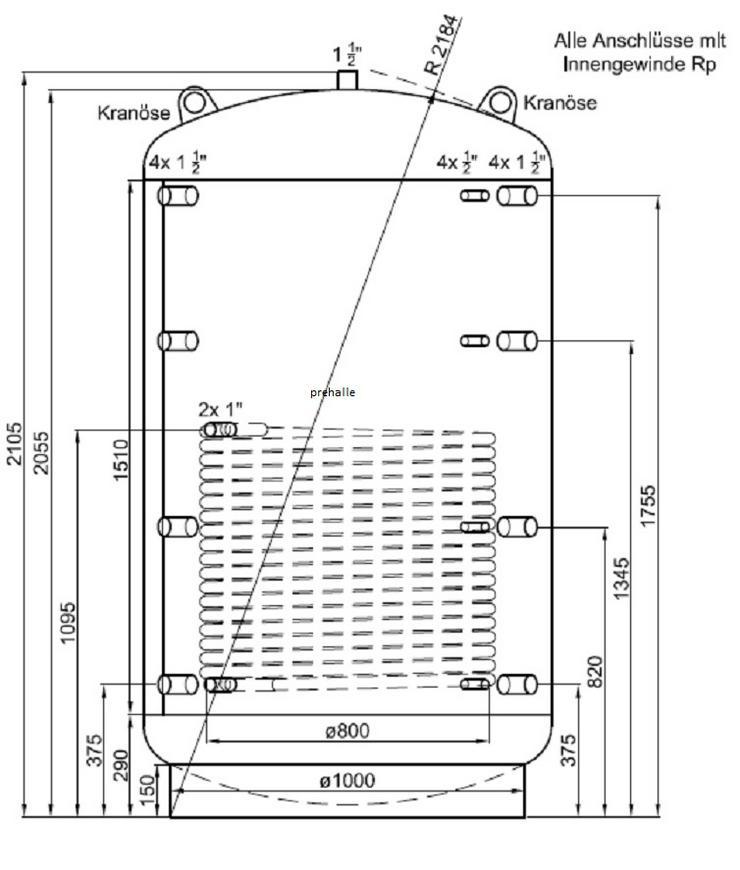 1A Pufferspeicher 2000 L Für Heizung BHKW Pelletofen Solar Ofen prehalle
