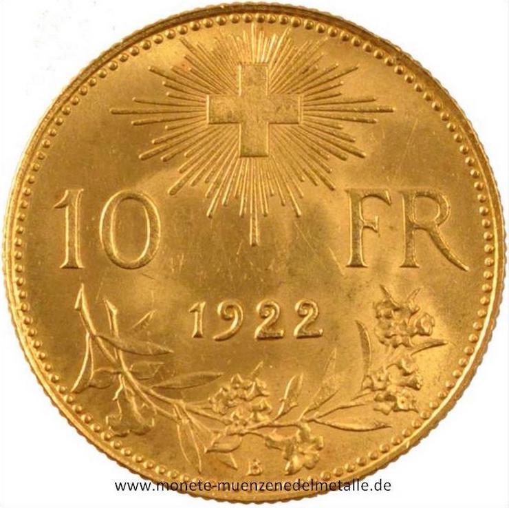 schweiz 10 Franke Vrenelli 1922  Gold  Münze