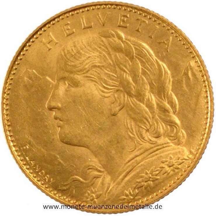 Bild 2: schweiz 10 Franke Vrenelli 1922  Gold  Münze