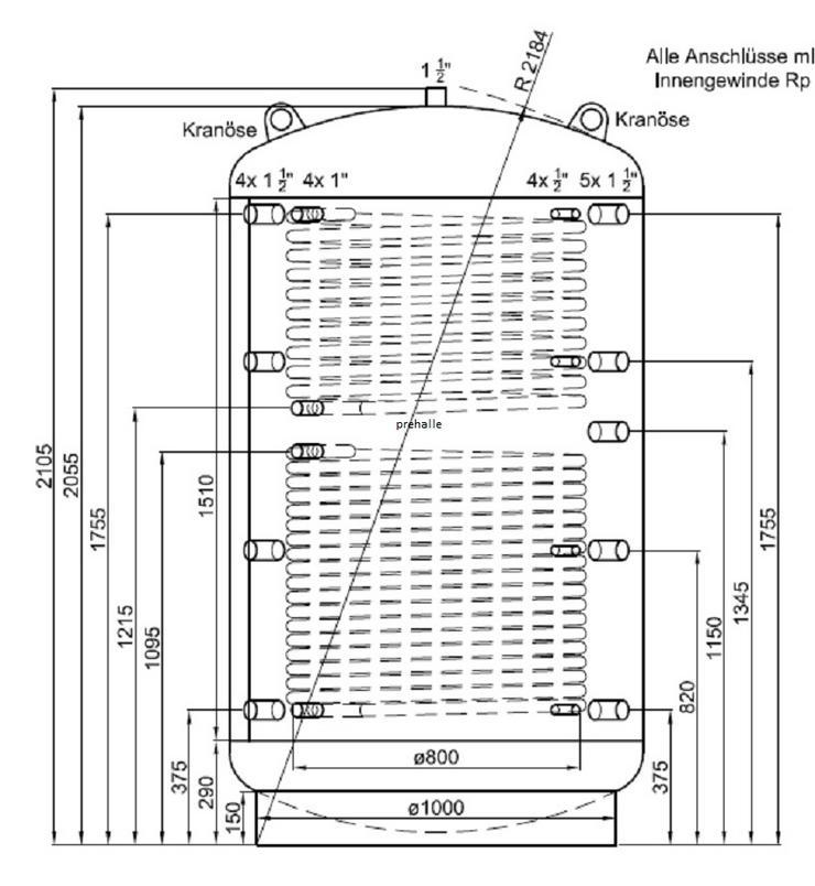 1A Pufferspeicher 2000 L Für Heizung BHKW Pelletofen Solar Kamin
