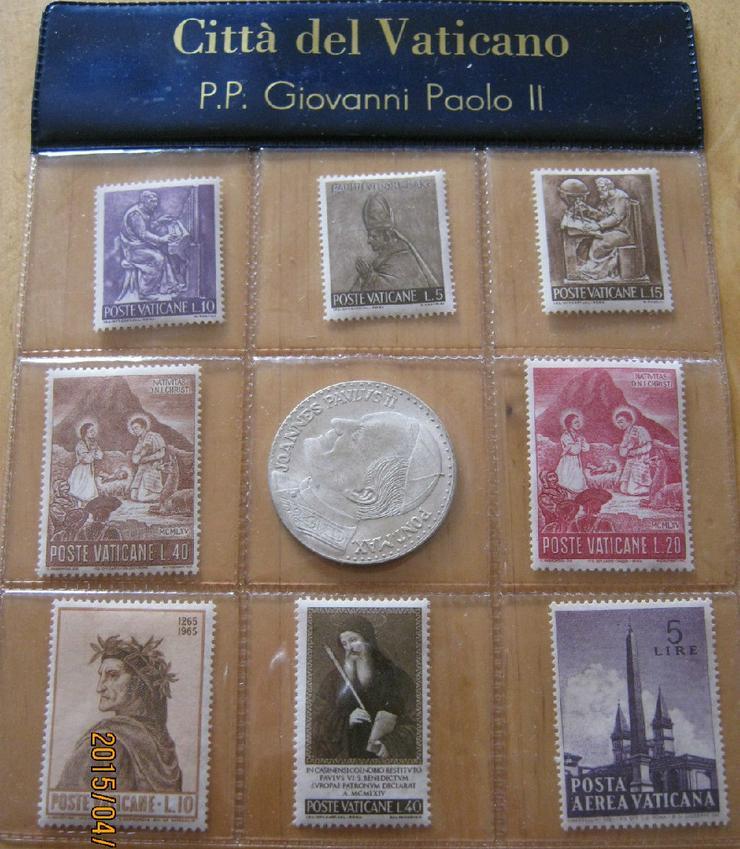 Vatikan Souvenir 8 Stück  Briefmarken Johannes Paul II mit Medaille