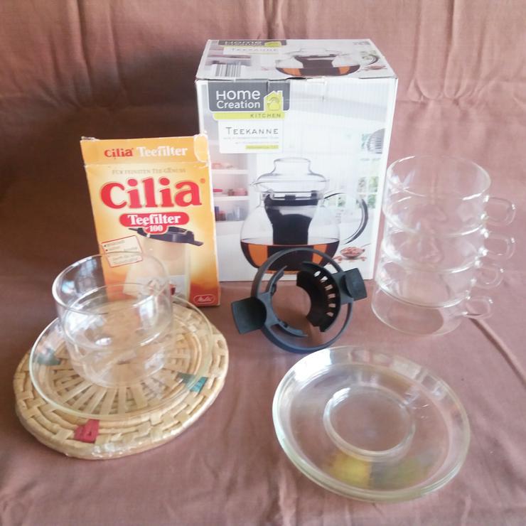 glas- tee - kanne + schalen + siebhalter + tüten + untersetzer