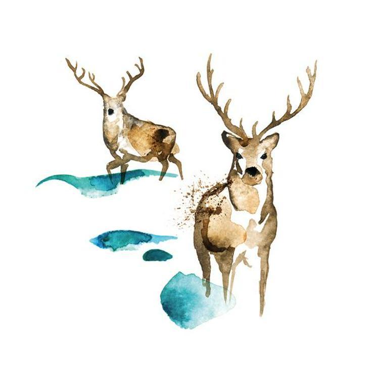 ppd Papierservietten Deer watercolor